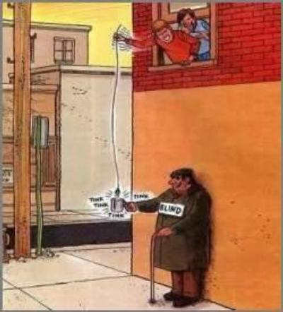 Rappresentazione grafica di un non vedente all'angolo di una strada defraudato dell'elemosina da due individui che dalla finestra sovrastante, con una calamita appesa ad una cordicella, rubano i pochi spiccioli lasciati dai passanti.